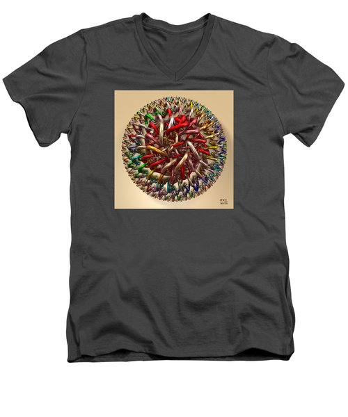 Men's V-Neck T-Shirt featuring the digital art Spawn by Manny Lorenzo