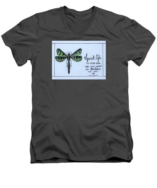 Men's V-Neck T-Shirt featuring the painting Speak Life To Your Soul by Elizabeth Robinette Tyndall