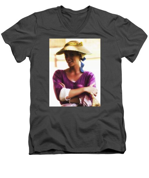 Speaking With Her Eyes  ... Men's V-Neck T-Shirt by Chuck Caramella