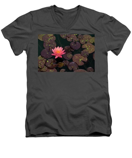 Speckled Red Lily And Pads Men's V-Neck T-Shirt