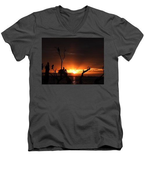 Men's V-Neck T-Shirt featuring the photograph Spectacular Sunset by Betty-Anne McDonald