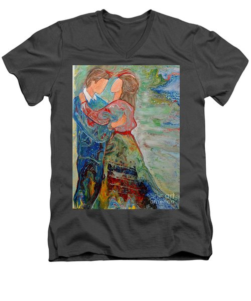 Men's V-Neck T-Shirt featuring the painting Spending Time With You by Deborah Nell