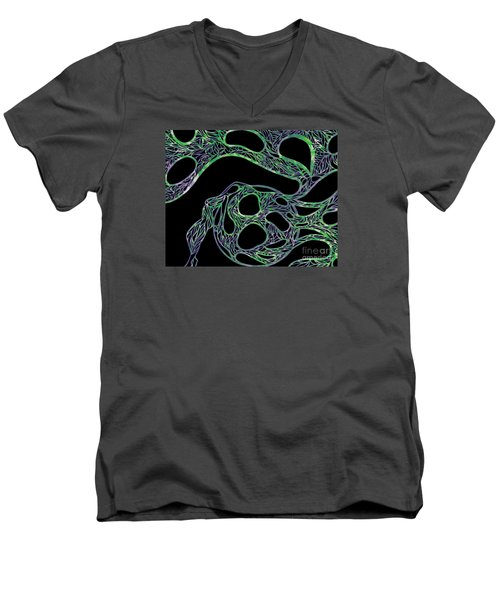 Men's V-Neck T-Shirt featuring the drawing Sphere Night by Jamie Lynn