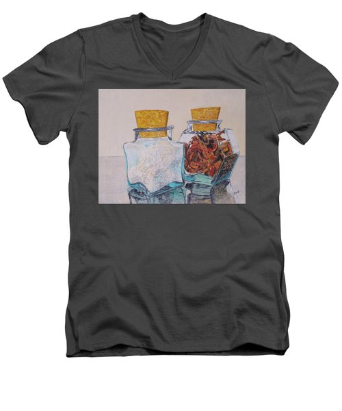 Spice Jars Men's V-Neck T-Shirt by Hilda and Jose Garrancho