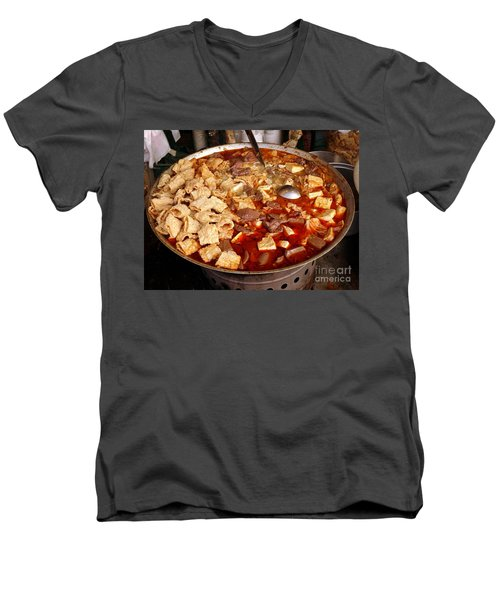 Men's V-Neck T-Shirt featuring the photograph Spicy Tofu Dish With Duck Blood Cakes by Yali Shi