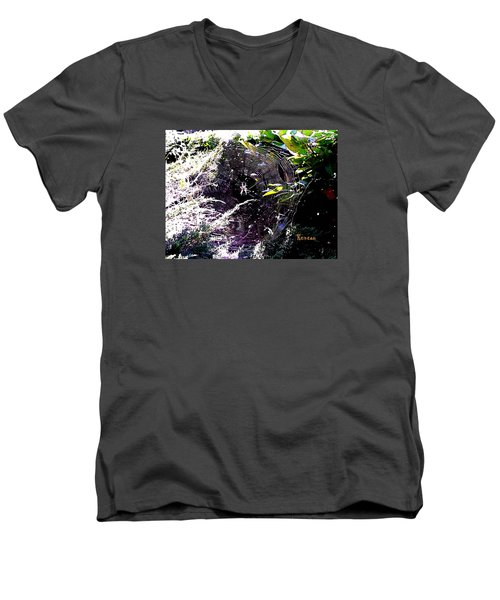 Men's V-Neck T-Shirt featuring the photograph Spider And Web 2 by Sadie Reneau