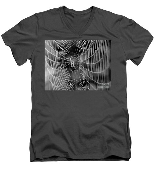 Spider In A Dew Covered Web - Black And White Men's V-Neck T-Shirt