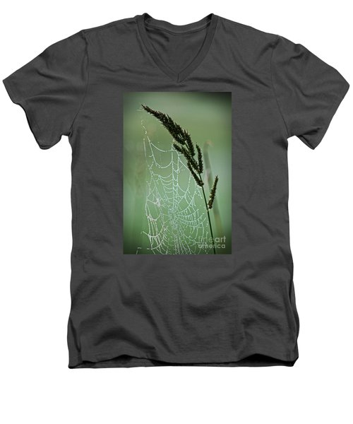 Spider Web Art By Nature Men's V-Neck T-Shirt by Ella Kaye Dickey