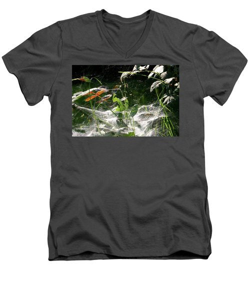Men's V-Neck T-Shirt featuring the photograph Spiderweb Over Rose Plants by Emanuel Tanjala