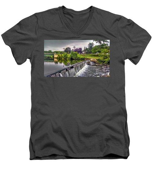 Spillway At Grace Lord Park, Boonton Nj Men's V-Neck T-Shirt