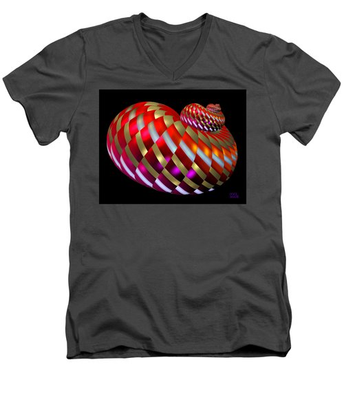 Men's V-Neck T-Shirt featuring the digital art Spin-orbit Interaction by Manny Lorenzo