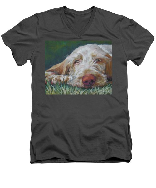 Spinone Italiano Orange Men's V-Neck T-Shirt