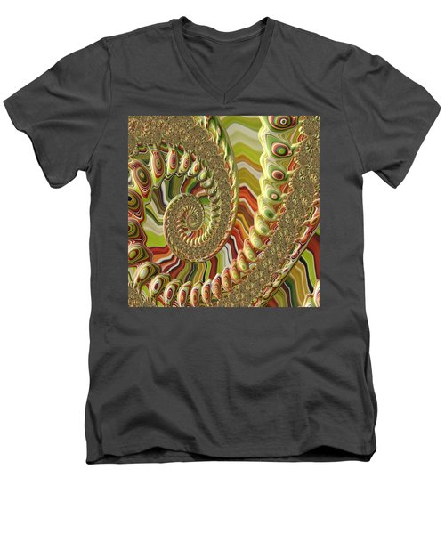 Men's V-Neck T-Shirt featuring the photograph Spiral Fractal by Bonnie Bruno
