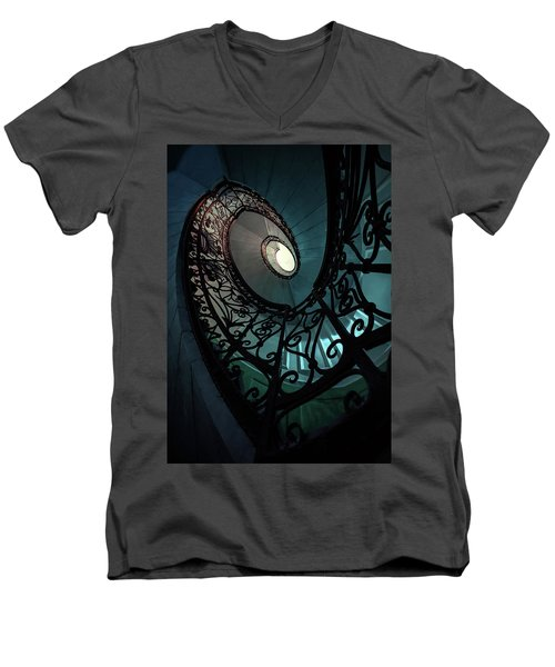 Men's V-Neck T-Shirt featuring the photograph Spiral Ornamented Staircase In Blue And Green Tones by Jaroslaw Blaminsky