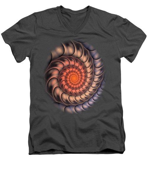 Men's V-Neck T-Shirt featuring the digital art Spiral Shell by Anastasiya Malakhova