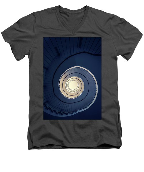 Men's V-Neck T-Shirt featuring the photograph Spiral Staircase In Blue And Cream Tones by Jaroslaw Blaminsky