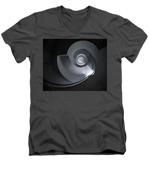 Men's V-Neck T-Shirt featuring the photograph Spiral Staircase In Grey And Blue Tones by Jaroslaw Blaminsky