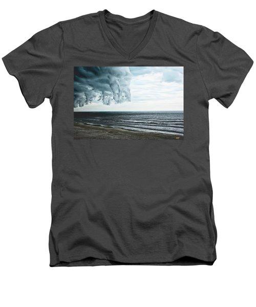 Spiraling Storm Clouds Over Daytona Beach, Florida Men's V-Neck T-Shirt