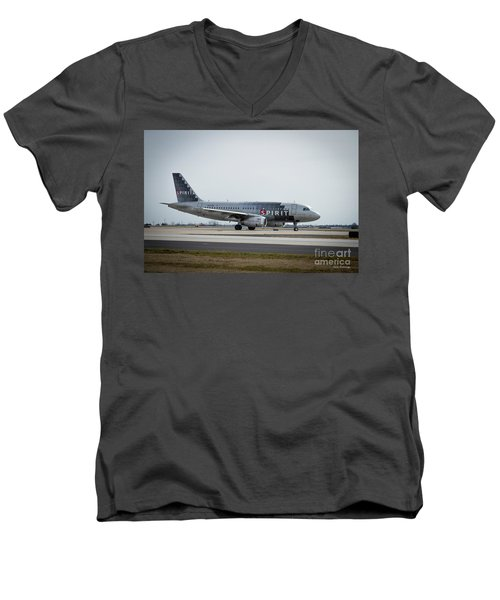 Men's V-Neck T-Shirt featuring the photograph Spirit Airlines A319 Airbus N523nk Airplane Art by Reid Callaway