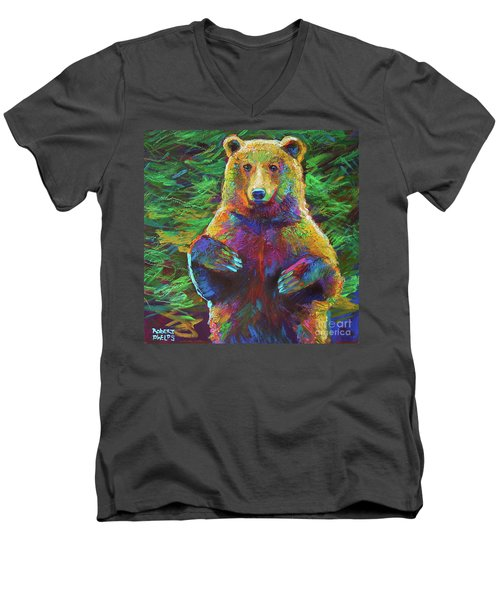 Men's V-Neck T-Shirt featuring the painting Spirit Bear by Robert Phelps