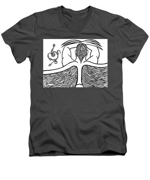Men's V-Neck T-Shirt featuring the drawing Spirit by Jamie Lynn