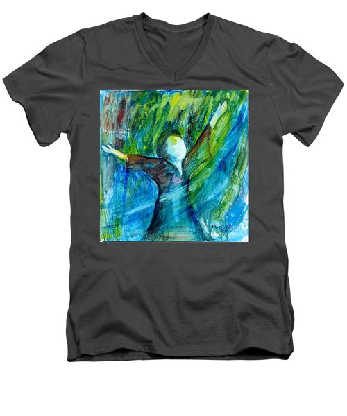 Men's V-Neck T-Shirt featuring the painting Spirit Move by Deborah Nell