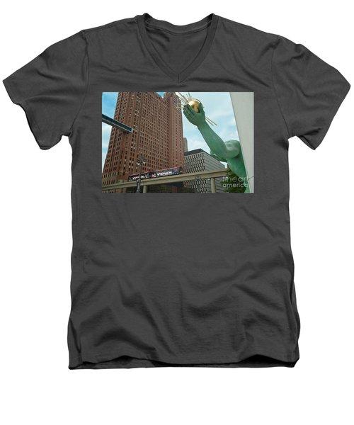 Spirit Of Detroit And People Mover Men's V-Neck T-Shirt