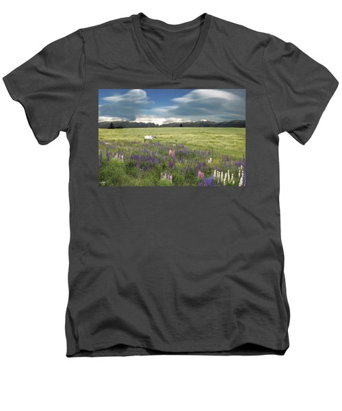 Spirit Pony In High Country Lupine Field Men's V-Neck T-Shirt