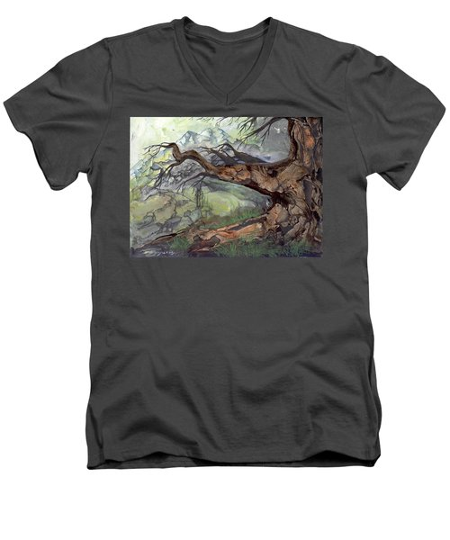 Men's V-Neck T-Shirt featuring the painting Spirit Tree by Sherry Shipley