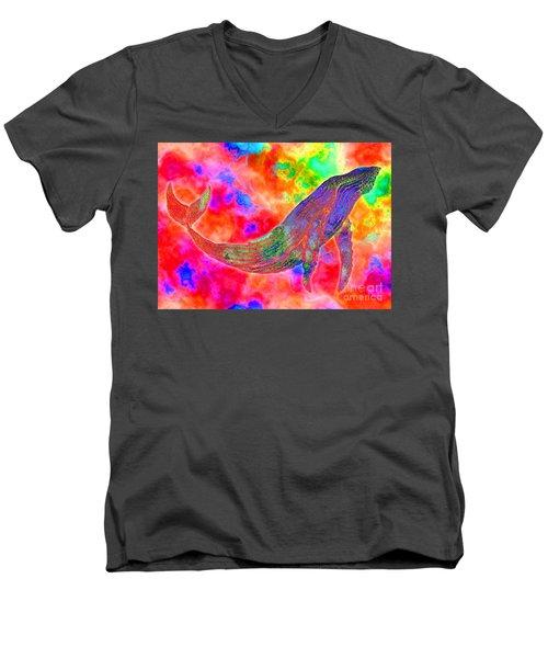 Spirit Whale Men's V-Neck T-Shirt by Nick Gustafson
