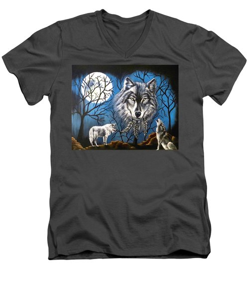 Men's V-Neck T-Shirt featuring the painting Spirit Wolf by Teresa Wing