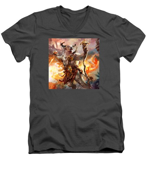 Spiritcaller Shaman Men's V-Neck T-Shirt by Ryan Barger