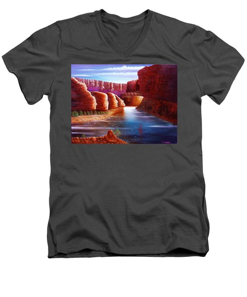 Men's V-Neck T-Shirt featuring the painting Spirits Of The River by Gene Gregory