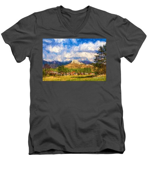 Castle Above The Village Men's V-Neck T-Shirt