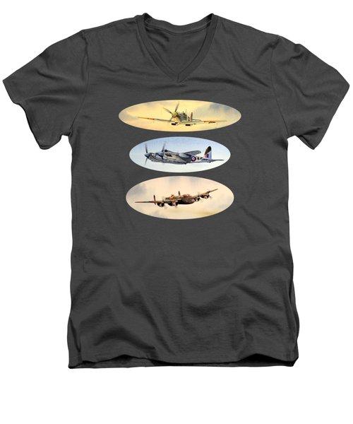 Spitfire Mosquito Lancaster Collage Men's V-Neck T-Shirt