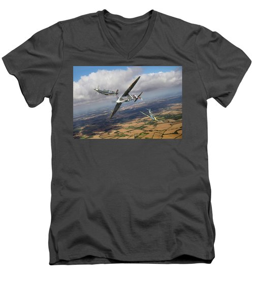 Men's V-Neck T-Shirt featuring the photograph Spitfire Tr 9 Fighter Affiliation by Gary Eason