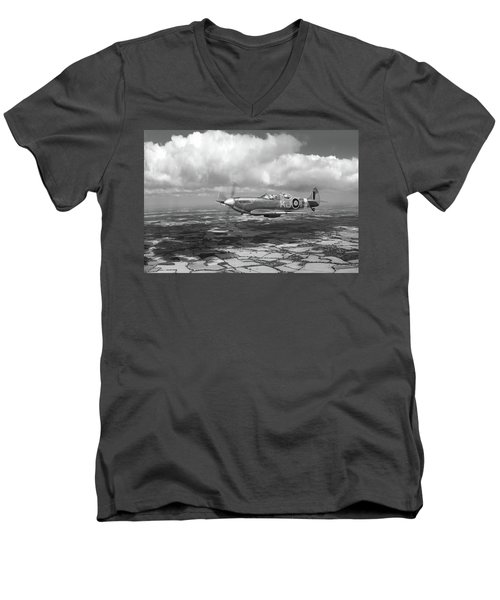 Men's V-Neck T-Shirt featuring the photograph Spitfire Tr 9 Sm520 Bw Version by Gary Eason