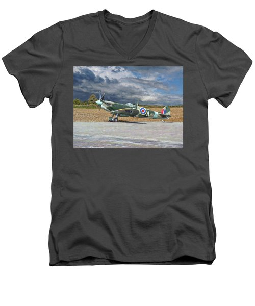 Men's V-Neck T-Shirt featuring the photograph Spitfire Under Storm Clouds by Paul Gulliver
