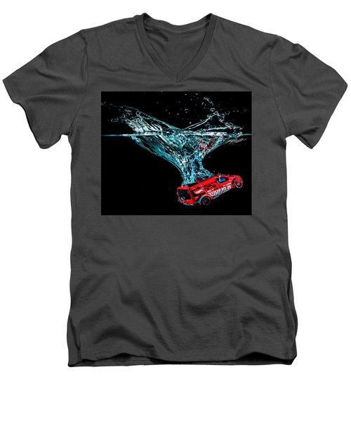Men's V-Neck T-Shirt featuring the photograph Splash Down by Nick Bywater