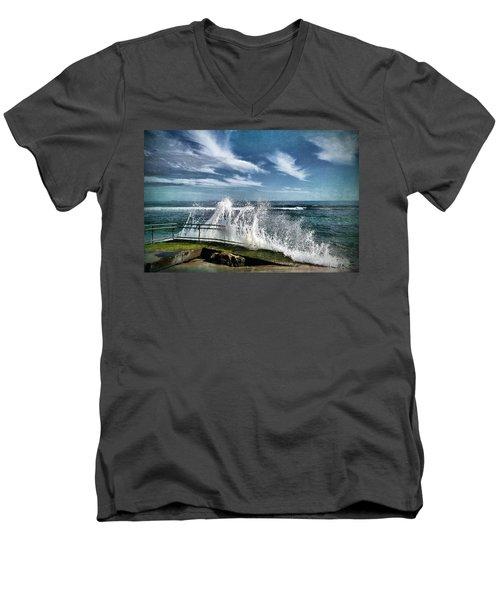 Splash Happy Men's V-Neck T-Shirt by Kym Clarke