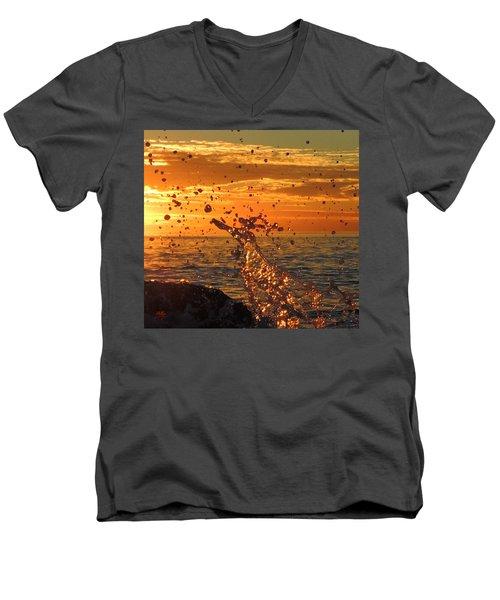 Men's V-Neck T-Shirt featuring the photograph Splash by Linda Hollis