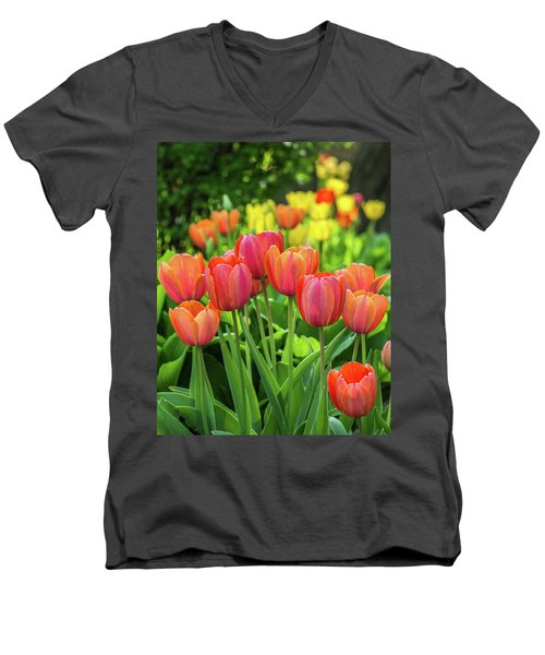 Men's V-Neck T-Shirt featuring the photograph Splash Of April Color by Bill Pevlor