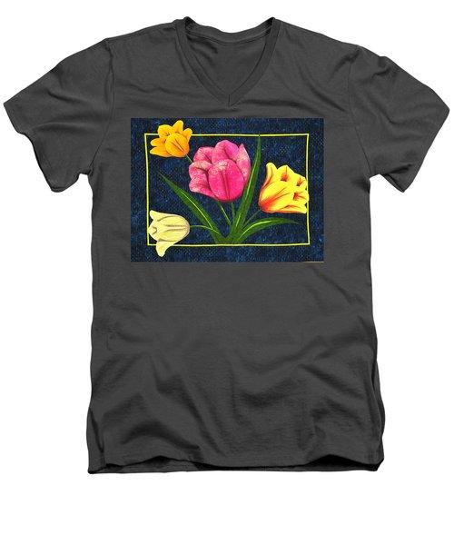 Splash Of Tulips Men's V-Neck T-Shirt by Jo Baner