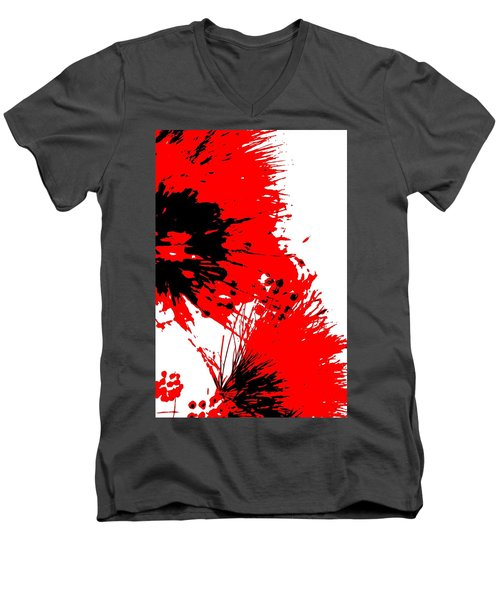 Splatter Black White And Red Series Men's V-Neck T-Shirt by Betty Northcutt