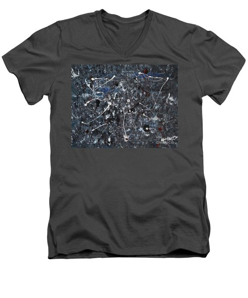 Men's V-Neck T-Shirt featuring the painting Splattered - Grey by Jacqueline Athmann
