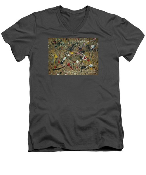 Men's V-Neck T-Shirt featuring the painting Splattered by Jacqueline Athmann