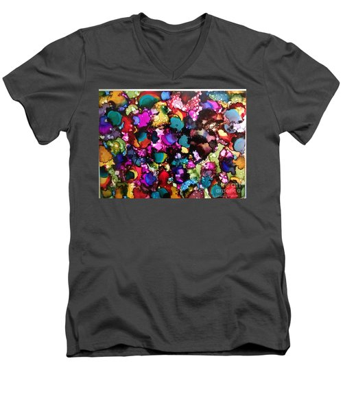 Men's V-Neck T-Shirt featuring the painting Splendor by Denise Tomasura
