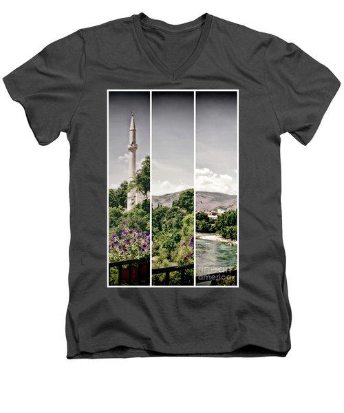 Split Landscape Men's V-Neck T-Shirt by Ana Mireles