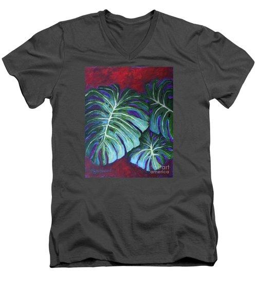 Split Leaf Philodendron Men's V-Neck T-Shirt by Phyllis Howard