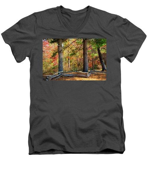Split Rail Fence And Autumn Leaves Men's V-Neck T-Shirt